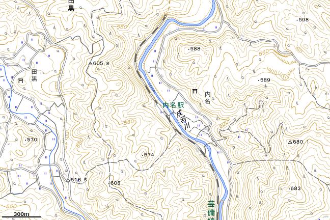 地形図:内名駅周辺