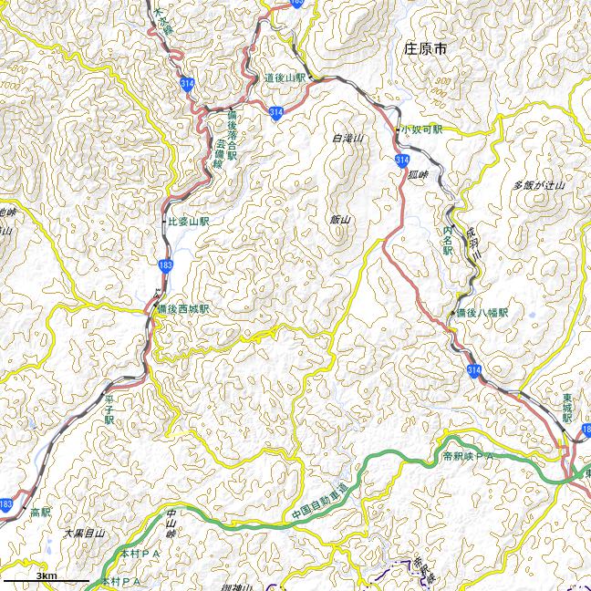 地形図・色別標高図:内名駅周辺広域図