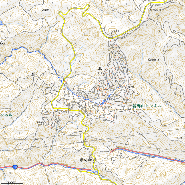 地形図:青山高原~青山峠周辺