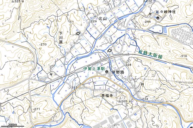地形図:伊賀上津駅周辺