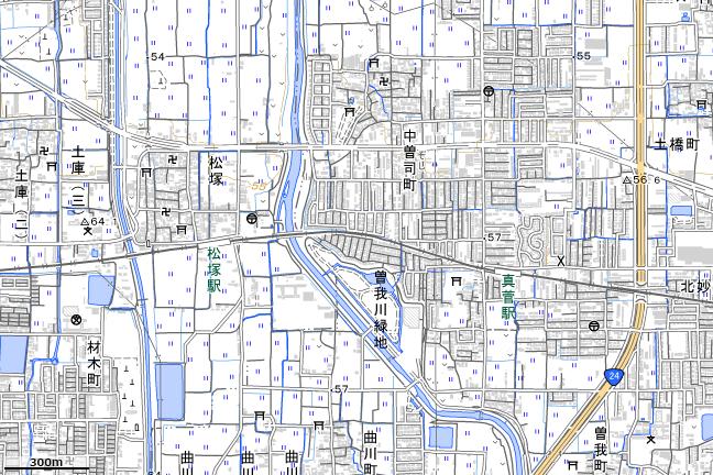 地形図:松塚駅・真菅駅周辺