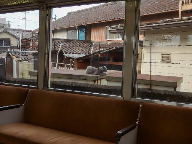 上野市街地では民家の軒先を行く