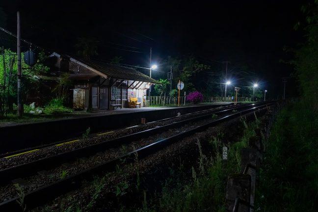 真っ暗な山道を20分ほど歩き、駅に戻ってきた