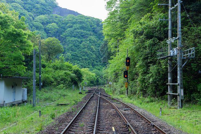 構内踏切から眺める下り阿波池田駅方面