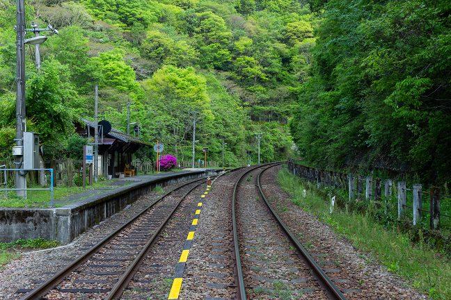 構内踏切から眺める上り琴平駅方面