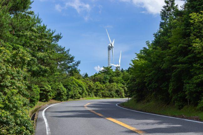 稜線近くに達して空が開けてくると風車群が目に飛び込んでくる