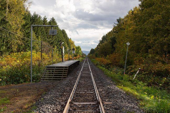 踏切付近から眺めた北剣淵駅と深川林地