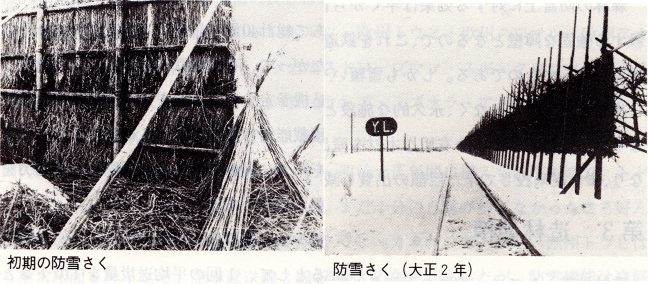 引用図:初期の防雪柵~「北海道鉄道百年史 上巻」より引用~