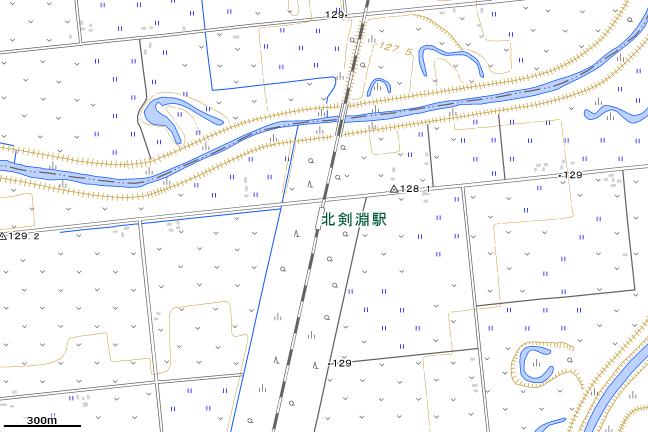 地形図:北剣淵駅周辺
