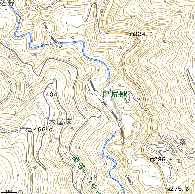 詳細地形図:坪尻駅周辺
