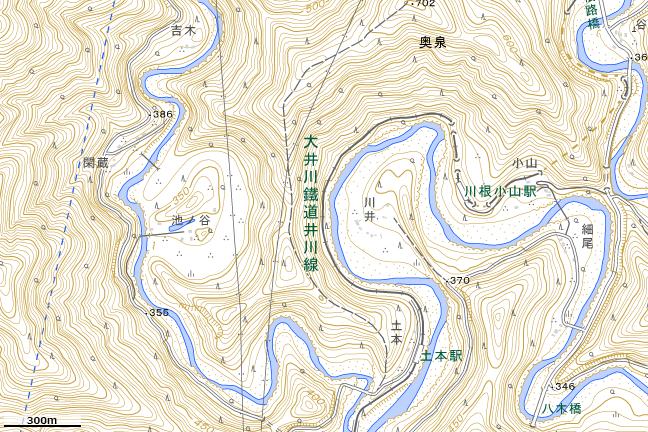 地形図:池ノ谷周辺(曲流切断地形)
