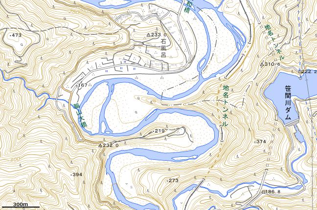 地形図:鵜山七曲り