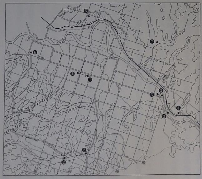 引用図:智恵文村の学校配置「新名寄市史第一巻(名寄市史編さん委員会・1999年)