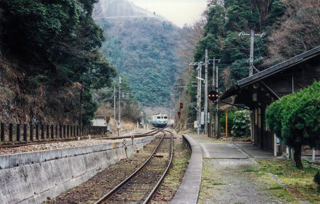 スイッチバックの引込線に進入する普通列車
