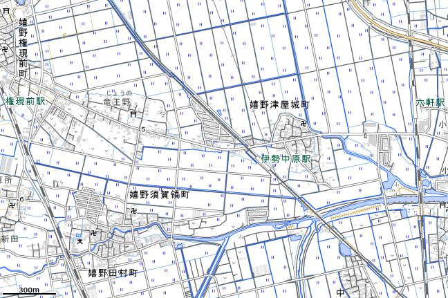 地形図:伊勢中原駅周辺