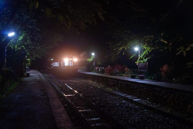雨で濡れた線路にきらめきを落として七尾行きの普通列車が停車する