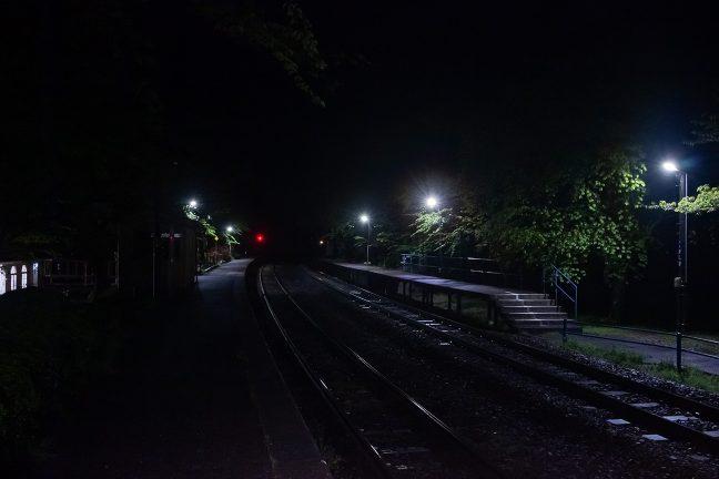 22時を過ぎて、最終列車間際となった能登鹿島駅