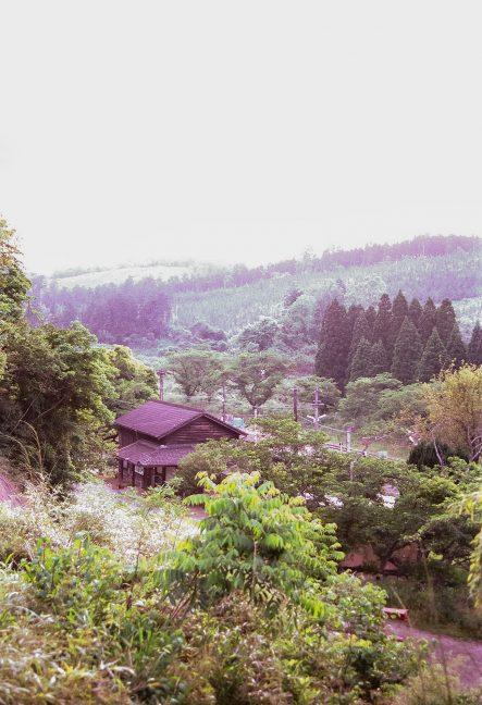 長閑な丘陵に佇む大畑駅の趣ある木造駅舎