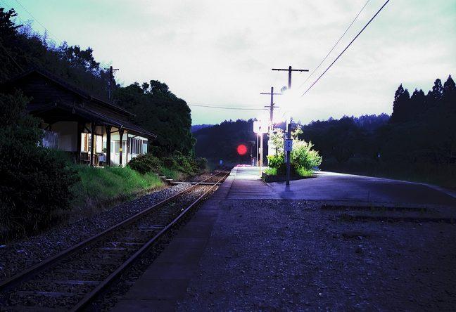 大畑駅暮景