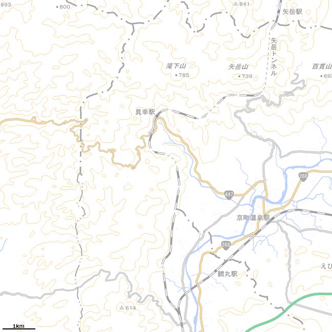 広域地形図:真幸駅周辺地誌図