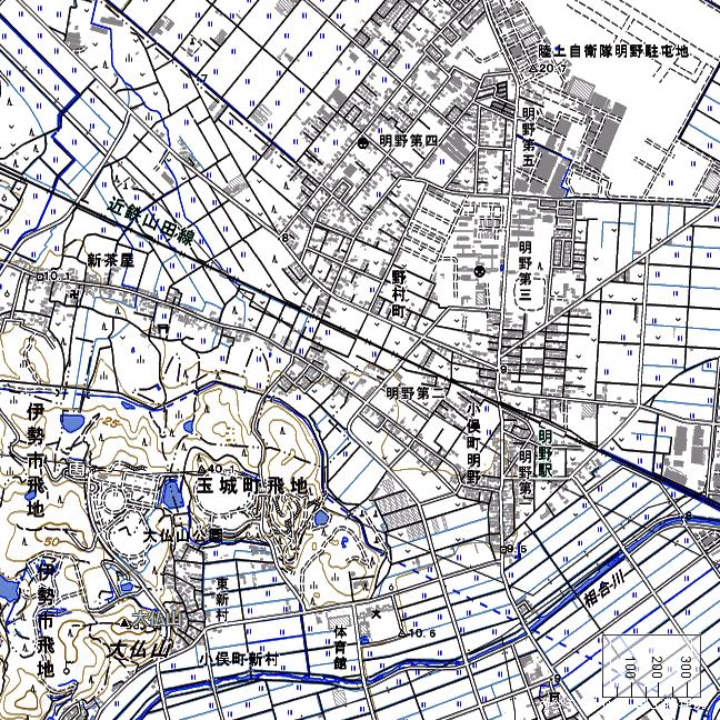 地形図:明野駅周辺