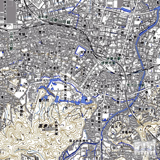 地形図:伊勢市駅・宇治山田駅周辺