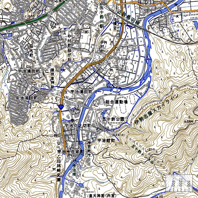 地形図:五十鈴川駅周辺