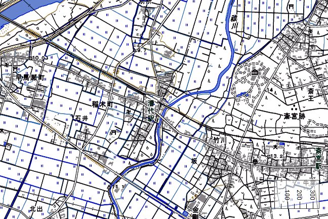 地形図:漕代駅周辺