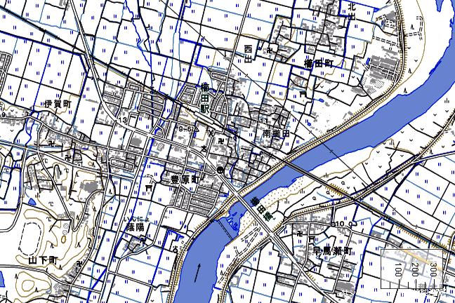 地形図:櫛田駅周辺