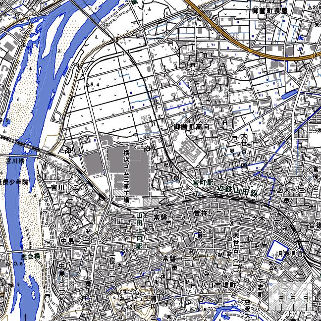 地形図:宮町駅周辺