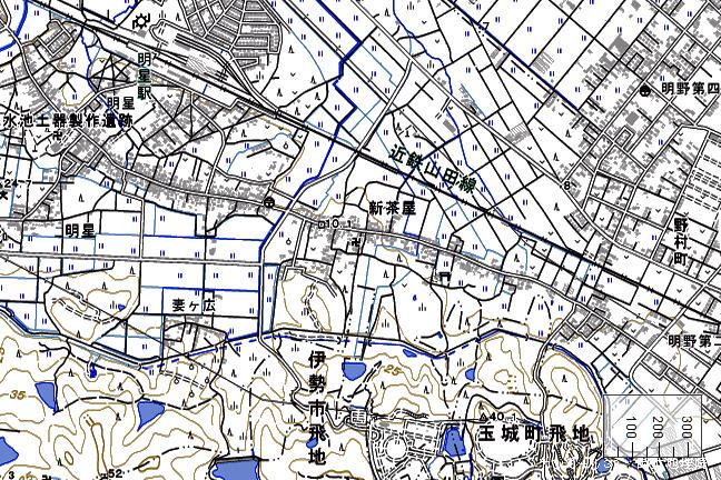 地形図:明星駅周辺