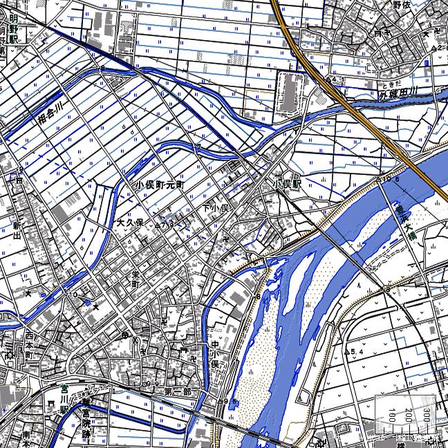 地形図:小俣駅周辺