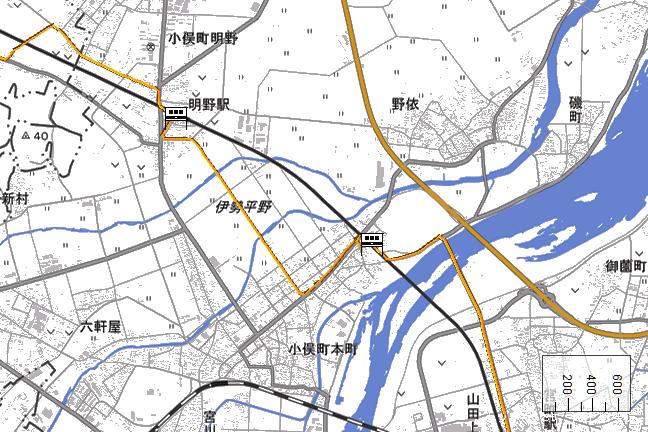 ルート図:明野~小俣間