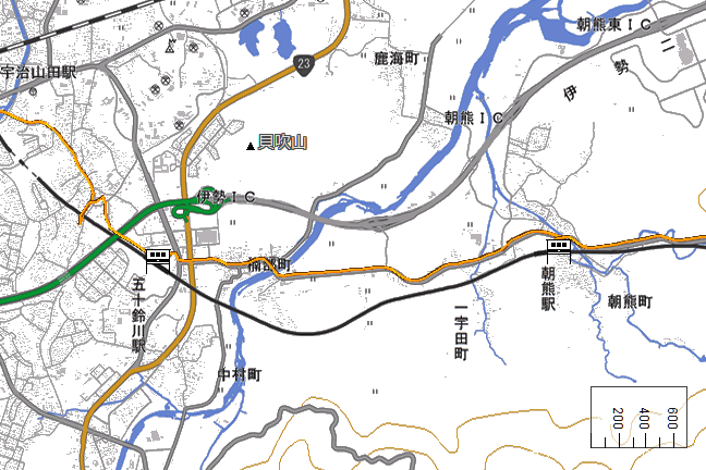 ルート図:五十鈴川~朝熊間