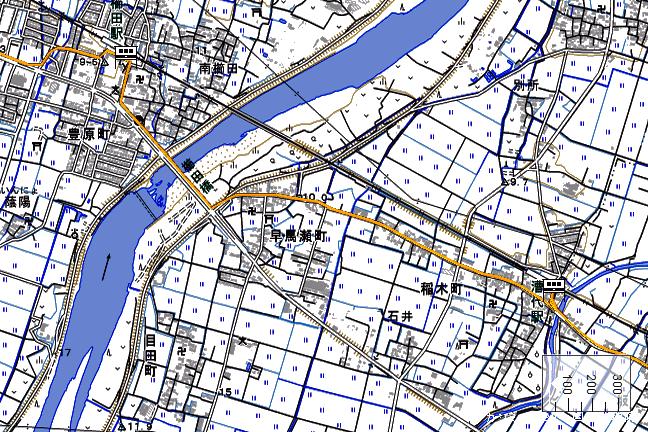 ルート図:櫛田~漕代間