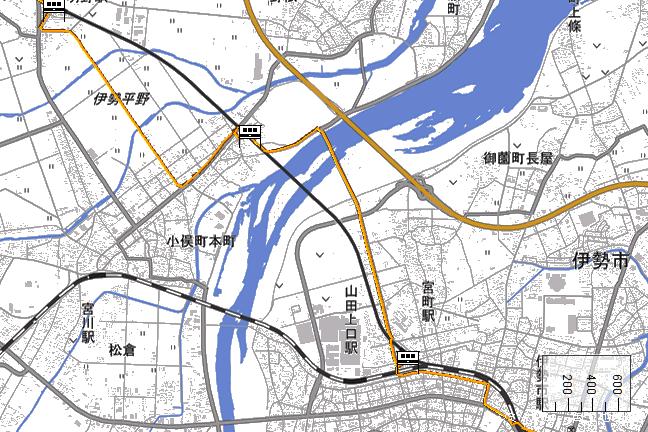 ルート図:小俣~宮町間