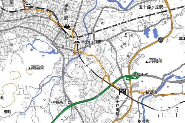 ルート図:宇治山田~五十鈴川間