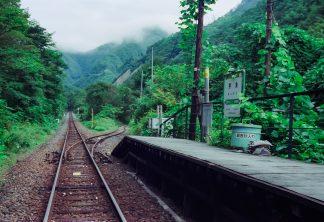 JR岩泉線・押角駅(岩手県:2001年8月)
