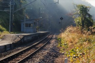 JR飯田線・千代駅(長野県:2001年11月)