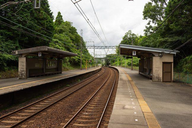 緩やかな曲線を描く朝熊駅のホームは広い