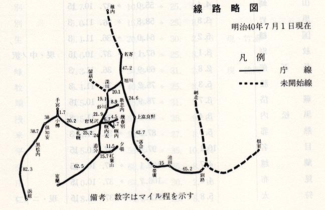 引用図:線路略図(明治40年7月1日現在)「北海道鉄道百年史 上巻(北海道鉄道総局・1976年)」