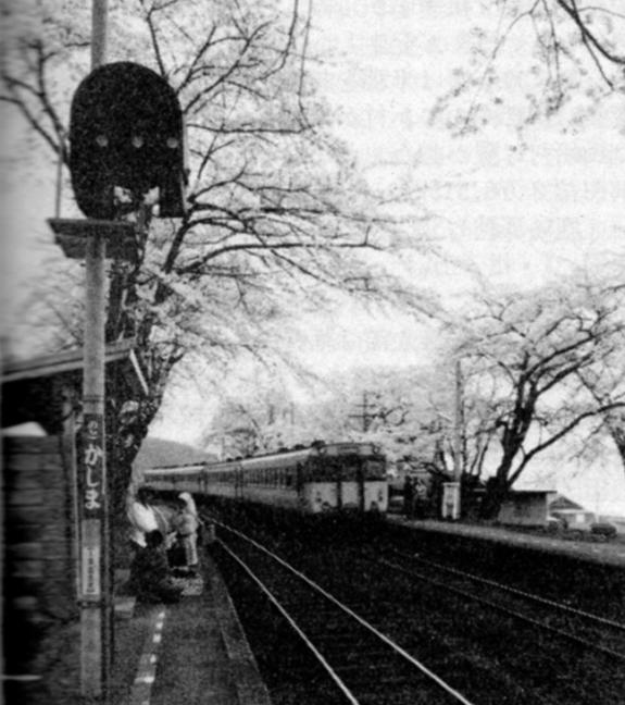 引用図:桜のトンネルと七尾線(能登鹿島駅)「角川日本地名大辞典17 石川県(角川書店・1981年)」
