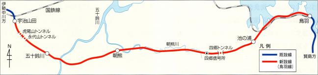 引用図:鳥羽線の路線図(昭和45年)「近畿日本鉄道100年のあゆみ(近畿日本鉄道・2010年)」