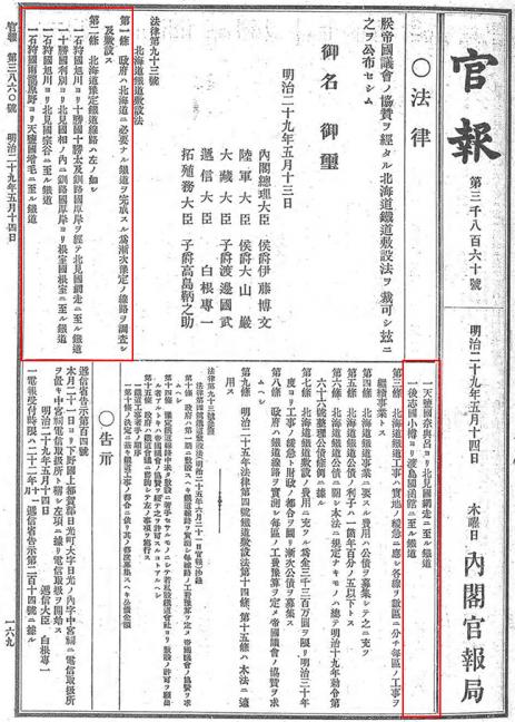 引用図:北海道鉄道敷設法「官報(第3860号・1896(明治29)年5月14日)」