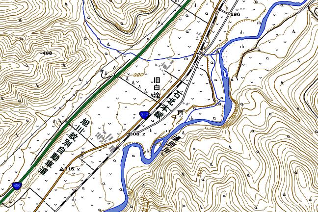 地形図:旧白滝駅周辺