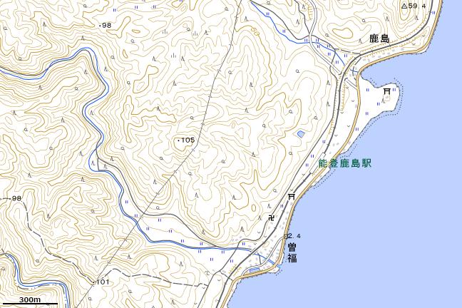 地形図:能登鹿島駅周辺
