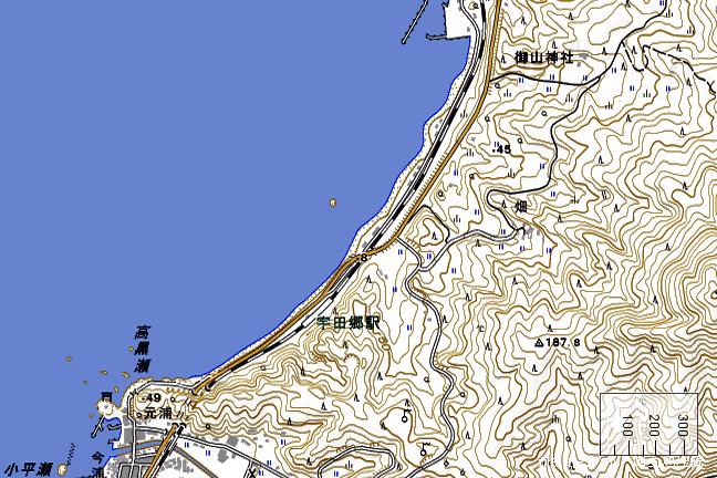 地形図:宇田郷駅周辺