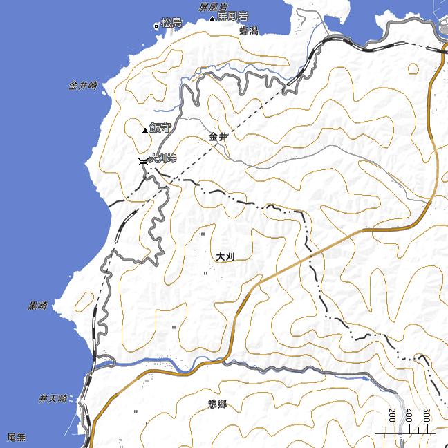広域地形図:須佐~宇田郷間広域図