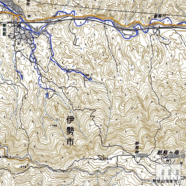 地形図:朝熊駅周辺