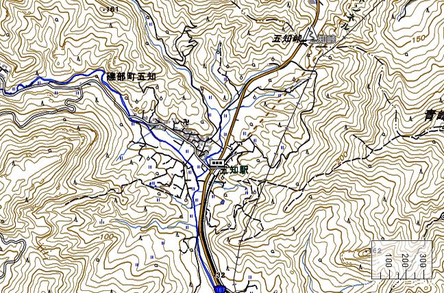 地形図:五知駅周辺